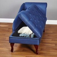Blue Chaise Storage Lounge Chair Sofa Loveseat for Living ...