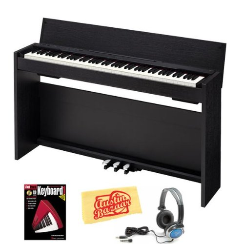 Casio Privia PX-830 Digital Piano Bundle with Headphones, Instructional Book, and Polishing Cloth - Black