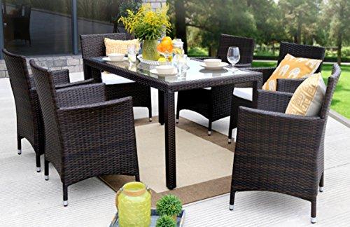 Baner Garden 7 Pieces Outdoor Furniture Complete Patio Cushion PE Wicker Rattan Garden Dining Set, Full, Brown