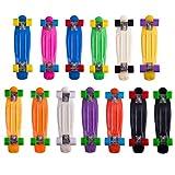 《W.M.S SKATEBOARD》 ステレオビニール ミニクルーザータイプ コンプリートスケートボード 専用ウィ―ルレンチおまけ付き (ブラック×レッド)