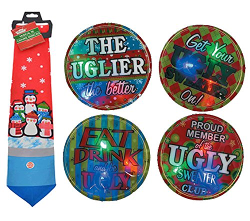 Novelty Ugly Christmas Sweater Penguin Inspired Musical Christmas Tie Assortment, 56″ Plays Jingle Bells At the Push of a Button! Plus Bonus Ugly Sweater Flashing Light Button!