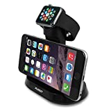 Apple Watch Stand, PLESON® 2 in 1 Apple Watch Charging Stand Dock, Apple Watch Stand Dual Bracket Docking Station Holder with Built-in Insert Slots for iPhone & Apple Watch 38/42 mm 2015 (Black)