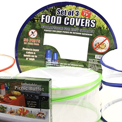 Mesh Food Cover Set  Inflatable Picnic Buffet Server Tabletop Cooler and Net