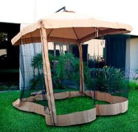 Offset Tan Patio Umbrella Instant Gazebo with Mesh Netting