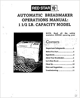 Red Star Bread Machine Manual & Recipes (Model: BM735
