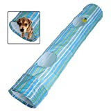 ZGY Portable Exercise Cat Puppy Dog Fun Collapsible Pet Obedience Agility Training Tunnel Striped Cave Chute Tool Rabbit Ferret Play Toys 50.4inch×9.8inch