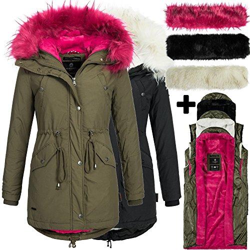 Marikoo TIRAMISU 16in1 Damen Jacke Parka XXL Fell Winterjacke Mantel warm gefüttert 2Farben inkl. 3x Innen- und Außenfell