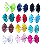 PET SHOW Dotted Line Bowknot French Barrette Pet Dog Hair Bows Clips Puppy Cat Grooming Hair Accessories Pack of 10