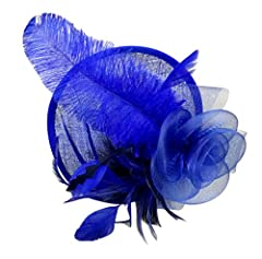Womens Feathers Fascinator on Headband Mesh Flowers (ROYAL BLUE)