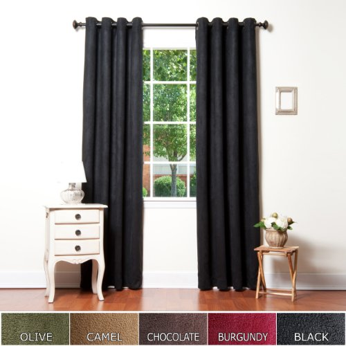 Cheap Curtains Black Faux Suede Grommet Top Insulated Blackout Curtain 104W X 84L Pair