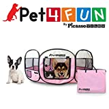 "PET4FUN® PN935 35"" Portable Pet Puppy Dog Cat Animal Playpen Yard Crates Kennel w/ Premium 600D Oxford Cloth, Tool-Free Setup, Carry Bag, Removable Security Mesh Cover/Shade, 2 Storage Pockets (PINK)"
