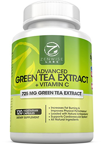 Green Tea Extract Supplement - Decaffeinated Vegetarian Pills for Weight Loss - Natural Fat Burner With Vitamin C - 725 mg Capsules - 120 Vegetarian Capsules - Regulates Cholesterol and Immune System