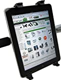 ChargerCity 360 Swivel Adjustment for New Apple iPad iPad 2 3 Kindle Fire Nook Color Universal Tablet Handle Bar Mic Golf Cart Exercise Machine Shopping Cart Wheelchair Golf Push Cart Strap Lock Mount (Fits aany shape handle bar from .75