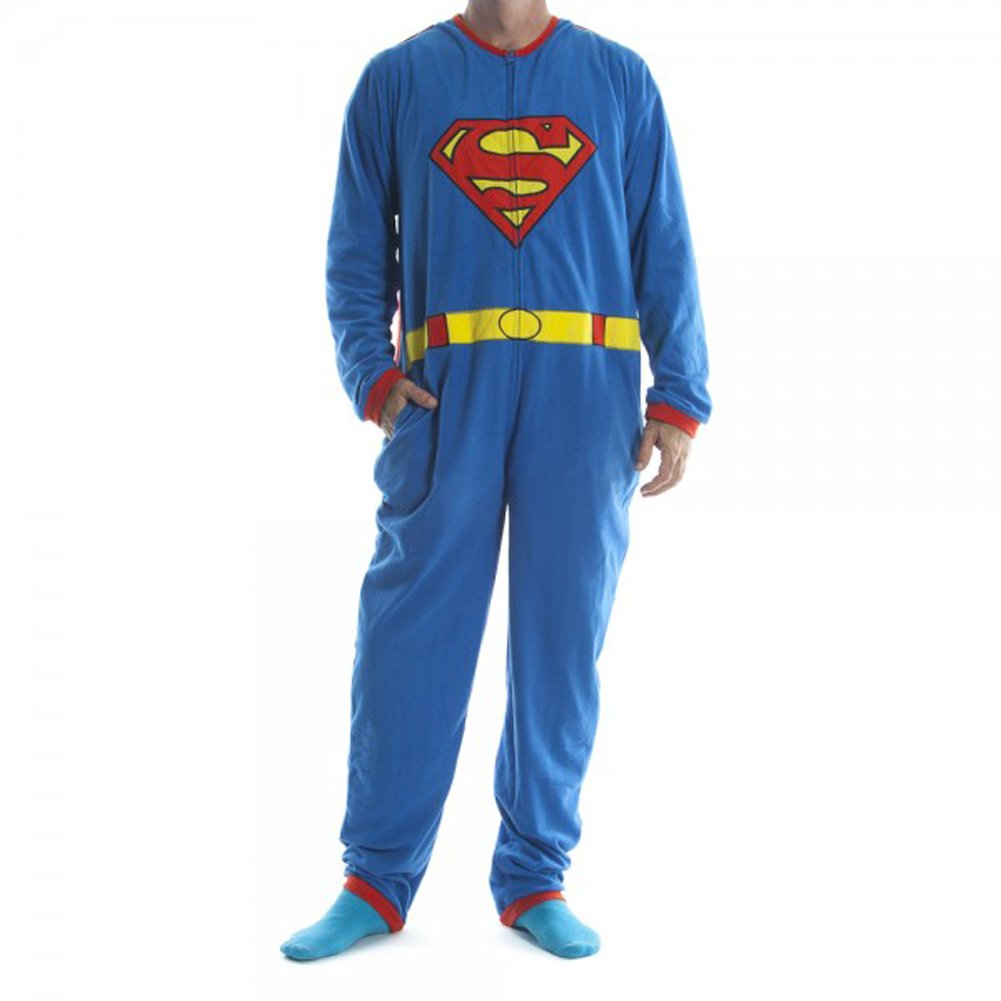 Superman Costume Union Pajama Suit With Cape