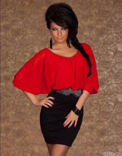 Sexy Minikleid Kleid mit Gürtel Gr. 34 36 38 Rot Schwarz