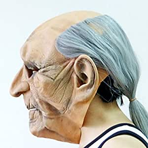 luy bald white hair old man mask with head cover for halloween costume party toys