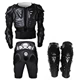 BC201 Mens Womens Black Motorcycle Clothing Shatter-Resistant including Cycling Jacket,Cycling Pants,Cycling Kneelet 3 Parts Cycling Accesories For Outdoor Activity,Available Size S Choose