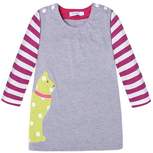 ZEARO Süße Mädchen Kinder Pullover Minikleid Pulli Shirt Bluse Cute gestreifte Langarm Karikatur Muster Kleid