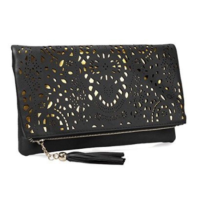 BMC-Womens-Perforated-Cut-Out-Gold-Accent-Foldover-Pouch-Fashion-Clutch-Handbag