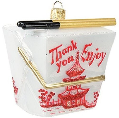 Chinese Take Out Box Glass Christmas Ornament