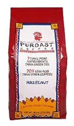 Puroast Low Acid Coffee Hazelnut Flavored Coffee Whole Bean, 2.5-Pound Bag
