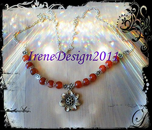 Silver Necklace with Orange Vein Agate & Flowers