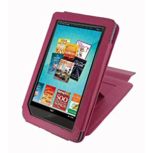 rooCASE (Magenta) Leather Case Cover with 22 Angle Adjustable Stand for Barnes and Noble NOOKcolor Nook Color eBook Reader - MV Series