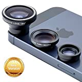 [New Version] VicTsing® 180° Fish-Eye Lens+Wide Angle Lens+Micro Lens 3-in-1 Magnetic Easy-Use Camera Lens Kits (Black) for iPhone 5 5C 5S 4S 4 3GS iPad mini iPad 4 3 2 Samsung Galaxy S4 S3 S2 Note 3 2 1 Sony Xperia L36h L36i HTC ONE Phones with Flat Camera (Wide Angle Lens and Macro Lens are connected together)