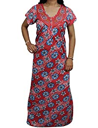 Indiatrendzs Women s Hosiery Floral Nighty Sleepwear Red Maxi Night Gown  Chest   44 575ec4178