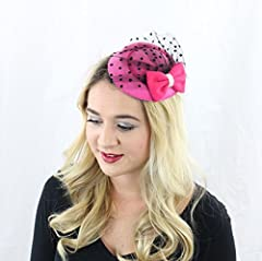 The Kate Pillbox Fascinator Hat with Hair Clip for Adults Women Teens Girls (Hot Pink)
