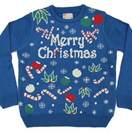 Fashion Light Up Blue Christmas Sweater Candy Cane Long Sleeve