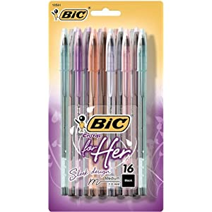 BIC Cristal For Her Ball Pen, 1.0mm, Black, 16ct (MSLP16-Blk)