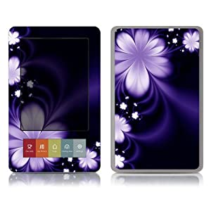 Bundle Monster Barnes & Noble Nook (Fit Nook Black & White Model Only) Ereader Vinyl Skin Cover Art Decal Sticker Protector Accessories - Purple Flower