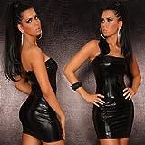 Bandeau Minikleid Kleid Leder-Latex-Look Gr. 34-38 verschiedene Farben