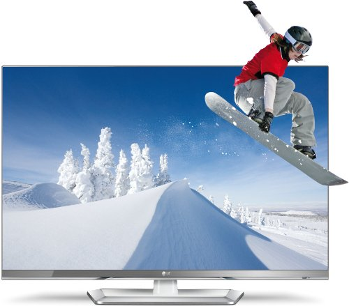 LG 32LM669S 81 cm (32 Zoll) Cinema 3D LED Plus Backlight-Fernseher, Energieeffizienzklasse A+ (Full-HD, 400Hz MCI, DVB-T/C/S2, Smart TV ) silber/weiß