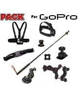 Pack fixation Gopro XXL pour caméra Go Pro Hero 1 & 2 & 3
