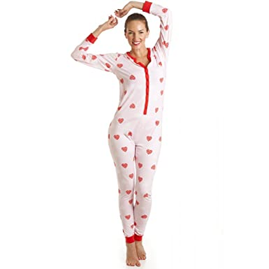 Camille Womens Ladies Cotton All In One Heart Print Onesie Pyjama 8/10 PINK