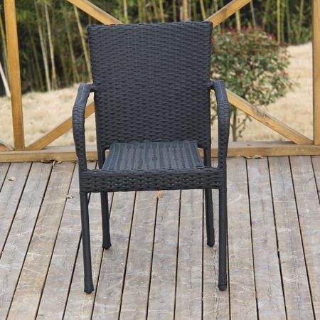2er-Set Rattan-Stapelstuhl Polyrattanstuhl Stuhl schwarz