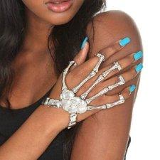 Woydal Fashion Silver Color Punk Goth Skeleton Slave Bones Talon Hand Skull Bracelet Style Chain #2113