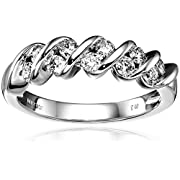 14k White Gold Diamond Channel S Anniversary Ring (1/2 cttw H-I Color I1-I2 Clarity) Size 6