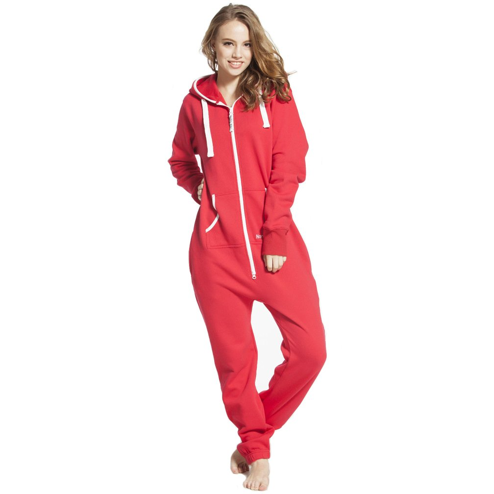 Nordic Way One Piece Jump In Suit Adult Fleece Jumpsuit Comfy Romper Unisex Playsuit