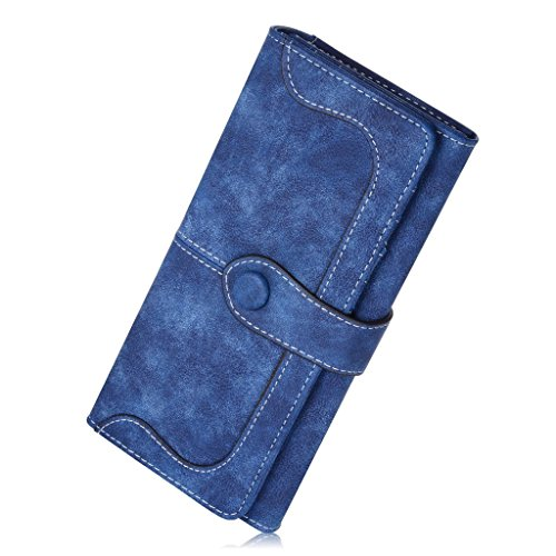 OOOK Women's Vegan Leather 17 Card Slots Long Bifold Organizer Wallet,Navy