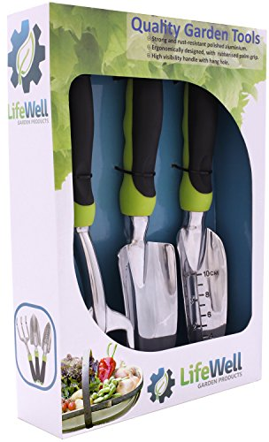 51DaScbZYXL - BEST BUY #1 Premium 3-Piece Garden Tool Set. The Toughest Gardening Tools You'll Ever Buy! Perfect Gift With Lifetime Warranty. Set Includes Trowel, Transplanter, Rake / Cultivator PLUS Growing Tips E-Book.