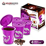 FROZ-CUP 2.0 - 4 Refillable/Reusable K-Cups for Keurig 2.0 - K300, K350, K400, K450, K500, K550 Series and all 1.0 Brewers (4-Pack)