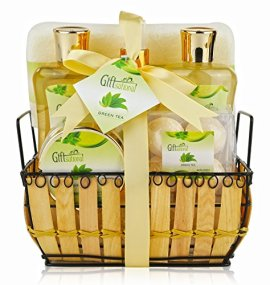 Spa-Gift-Basket-with-Rejuvenating-Green-Tea-Fragrance-Best-Christmas-Birthday-or-Anniversary-Gift-for-Men-and-Women-Spa-Bath-Gift-Set-Includes-Bubble-Bath-Bath-Salts-Bath-Bombs-and-More