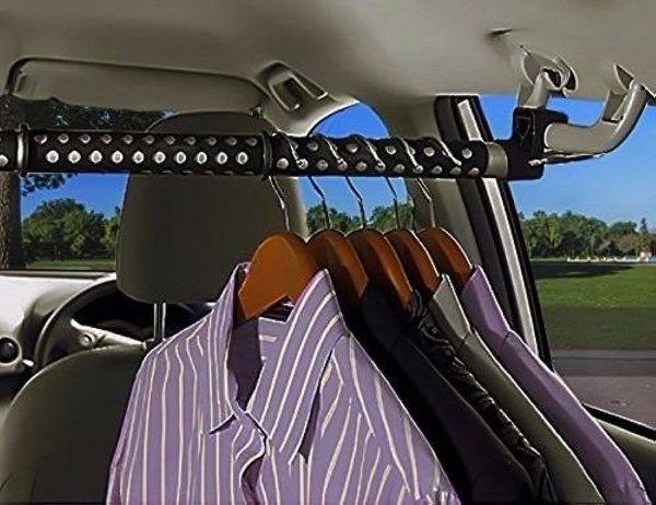 Zone Tech Expandable Car Clothes Hanger Clothing Rod Bar Garment Rack Holder