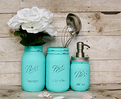 Robins Egg Blue Handmade Painted and Distressed Mason Jar Kitchen Utensil Holder- Kitchen Accessory Containers- Soap Pump