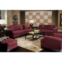 Burgundy And Brown Living Room