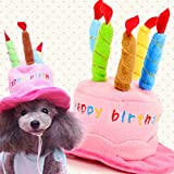 Mkono Cute Birthday Hat with Cake & Candles Party Costume Headwear for Small Dogs & Cats