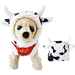 AWAMI Dog Halloween Costumes Pet Cat Costume Cow Hat for Small Dogs